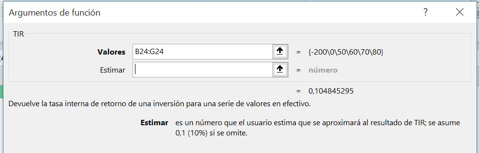 Fórmula TIR en Excel