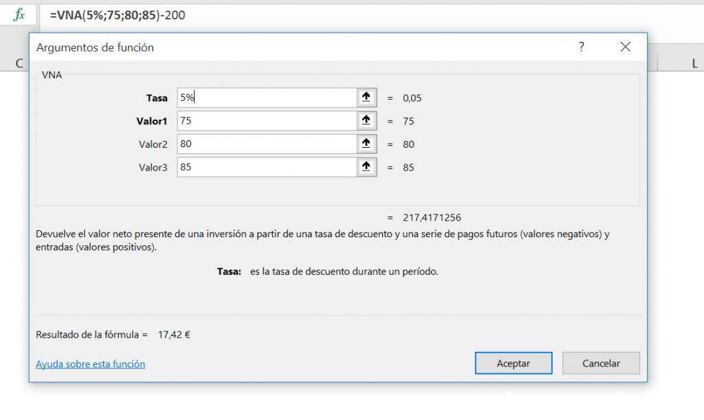 VAN Excel